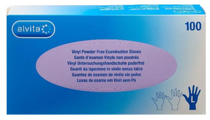 Image of Alvita Vinyl Handschuhe Grösse L, puderfrei (100 Stk)