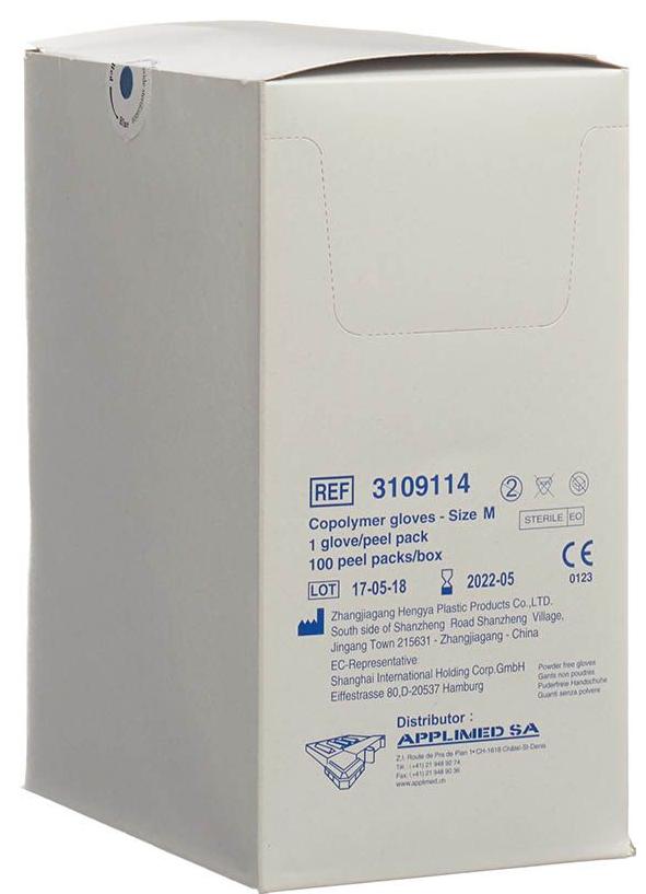Image of Applimed Copolymer Handschuhe Grösse M, steril, puderfrei (100 Stk)