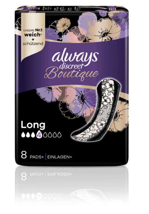 Image of Always Discreet Boutique Inkontinenz Einlagen Long (8 Stk)