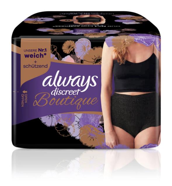 Image of Always Discreet Boutique Schwarze Inkontinenz Pants M (9 Stück)