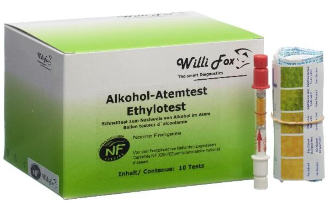 Image of Willi Fox Alkohol-Atemtest Ethylotest (10 Stk)