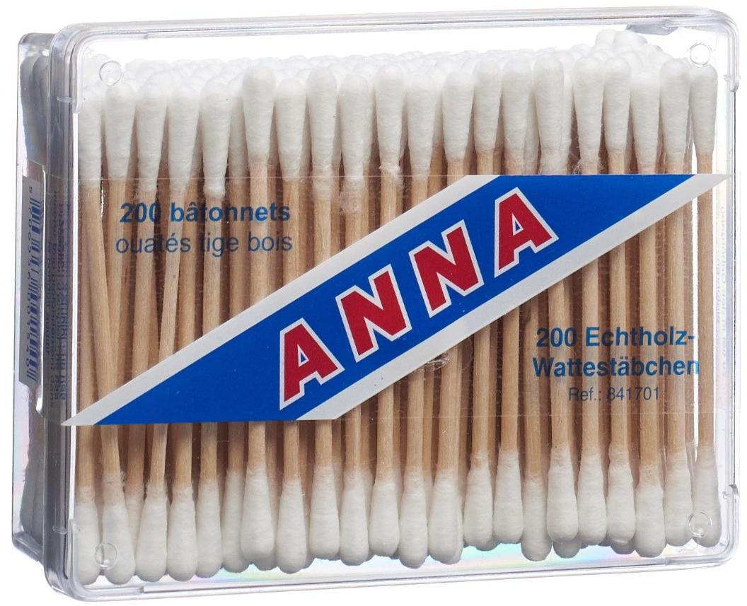 Image of Anna Wattestäbchen Holz (200 Stk)