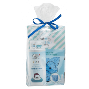 Aromalife gift set kids bubble bath sweet dreams with bath sponge blue (1pc)