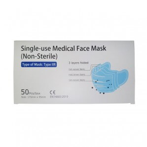 Medical disposable mask type IIR blue (50 pieces)