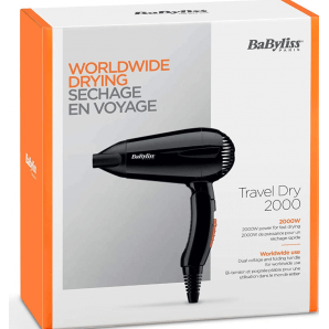 BaByliss Travel Dry Foldable Hairdryer (2000 watts)