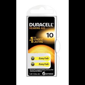 DURACELL Hörgerätebatterien 10 / 1,45 V / Zink Air (6 Stk)