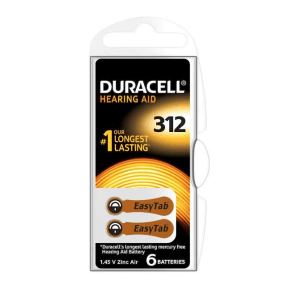 DURACELL hearing aid batteries 312 / 1.45 V / zinc Air (6 pieces)