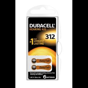 DURACELL Hörgerätebatterien 312 / 1,45 V / Zink Air (6 Stk)
