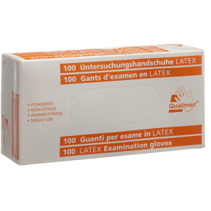 Qualimed examination gloves Latex S powdered (100 pieces)
