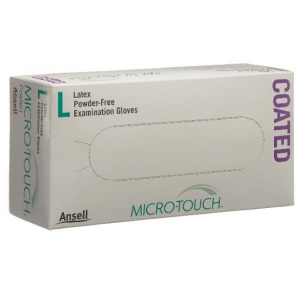 MICRO-TOUCH Coated latex gloves size L, powder-free (100 pieces)