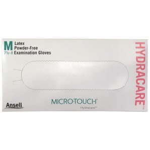 MICRO-TOUCH Hydracare latex gloves size M, powder-free (100 pieces)
