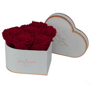 Infinity rosebox white heart with dark red roses (size M)
