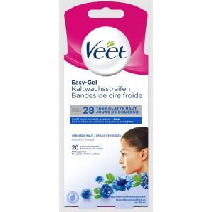 Veet bandes de cire froide face pour peaux sensibles (10x2 pièces)