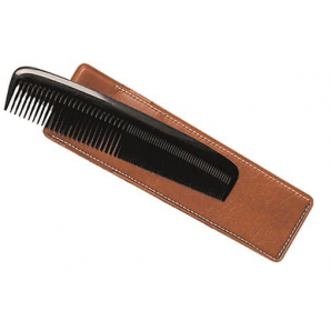 Herba pocket comb with case hand-sawn hard rubber black