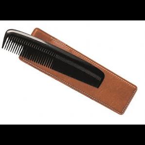 Herba Taschenkamm mit Etui handgesägt Hartgummi schwarz