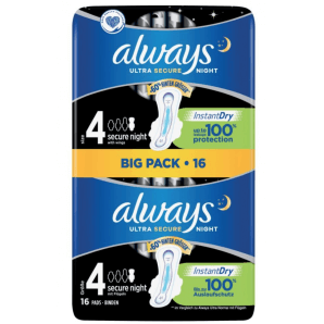 Always Ultra Bandage Secure Night Size 4 Big Pack (16 pieces)