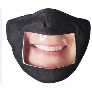 Vasano Stoffmaske schwarz mit sichtbarem Mund (1 Stk)