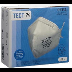 TECT FFP2 Atemschutzmaske faltbar ohne Ventil (10 Stk)