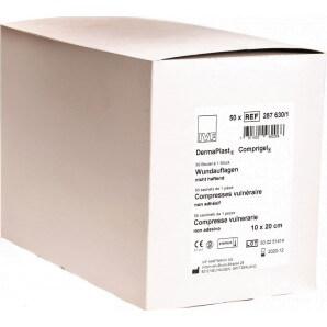 DermaPlast Compresse Gel Plaies Coussinets Stériles 10x20cm (50 pièces)