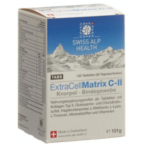 Swiss Alp Health Extra Cell Matrix C-II onglets pour articulations (120 pièces)