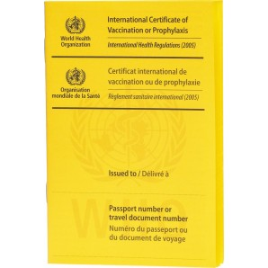 WHO vaccination card international yellow