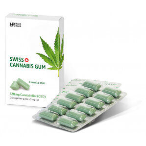 Swiss Cannabis Gum 120 mg CBD Mint Box (24 pcs)