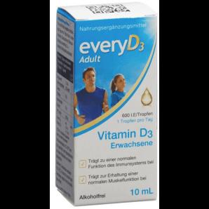 everyD3 Adulte 600 UI de vitamine D3 sans alcool (10ml)