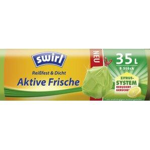 Swirl Aktive Frische Reißfest & Dicht Müllbeutel 35 Liter Zitrone (9 Stk)