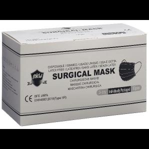MKW medizinischer Einweg-Mundschutz schwarz Typ IIR einzeln verpackt (50 Stk)