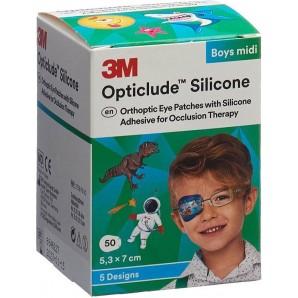 3M Opticlude Silikon Augenverband 5.3x7cm Midi Boys (50 Stk)