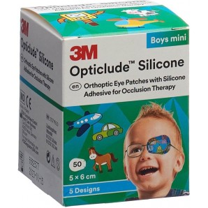 3M Opticlude Silikon Augenverband 5x6cm Mini Boys (50 Stk)