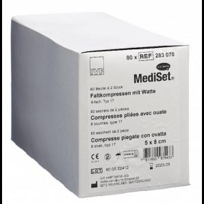 MediSet Faltkompressen mit Watte Steril 5x5cm 8-fach (80x2 Stk)