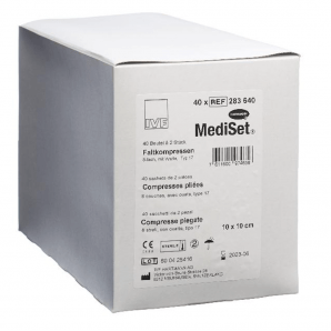MediSet Faltkompressen mit Watte Steril 10x10cm 8-fach (40x2 Stk)