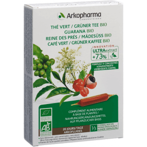 ARKOFLUIDE Grüner Tee-Grüner Kaffee-Guarana-Mädesüss Bio Trinkampullen (20 Stk)