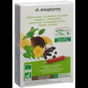 ARKOFLUIDE Holunder-Rettich-Löwenzahn-Zitrone Bio Trinkampullen (20 Stk)