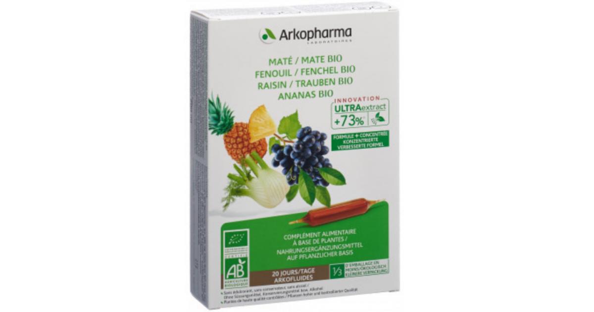 ARKOFLUIDE Ananas-Mate-Fenchel-Trauben Bio Trinkampullen (20 Stk)