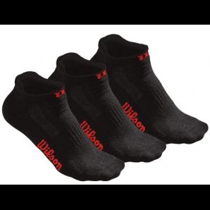 Wilson Damen No Show Socken schwarz / rot (Grösse: 37-42, 3er Set)