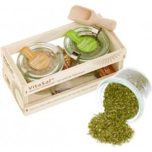 VitaSal gift set wooden box salt flower Floresta & Salina