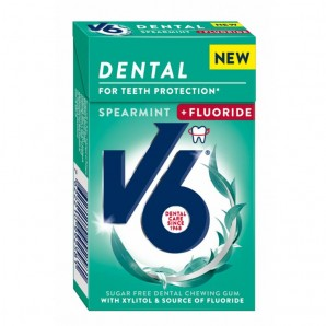 V6 Dental Care Kaugummi Spearmint + Fluoride (Box)