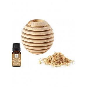 Aromalife Globe en bois parfumé Pinus Cembra avec huile essentielle et copeaux