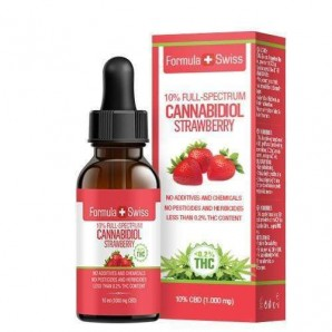 Formula Swiss 10% full spectrum CBD oil in MCT oil strawberry pipette (10ml)