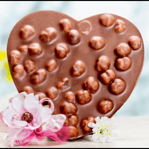 Herz mit Milchschokolade/Haselnüssen - Aeschbach Chocolatier
