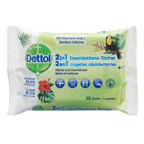 Dettol 2in1 disinfectant wipes (15 pcs)