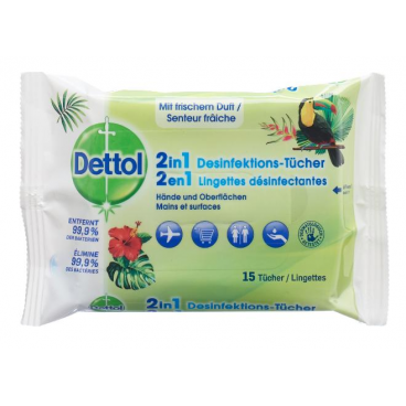 Dettol 2in1 disinfectant wipes (15pcs)