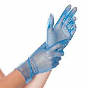 Hygostar Gants vinyle bleu taille M (100 pièces)