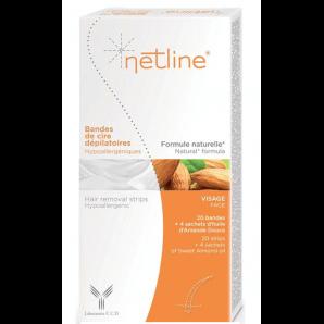 Netline hypoallergene Kaltwachsstreifen Gesicht (20 Stk)