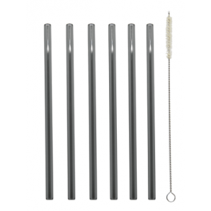 Glass drinking straws straight / black-transparent (6 pieces)