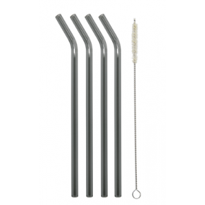 Drinking straws made of glass curved / black-transparent 23cm (4 pieces)