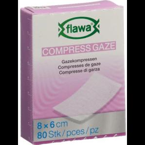 FLAWA des compresses de gaze 8x6cm réduites de germes (80 pièces)