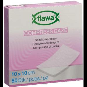FLAWA des compresses de gaze 10x10cm réduites de germes (80 pièces)